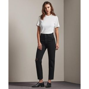AG   The Phoebe Black Vintage High-Waisted Jeans